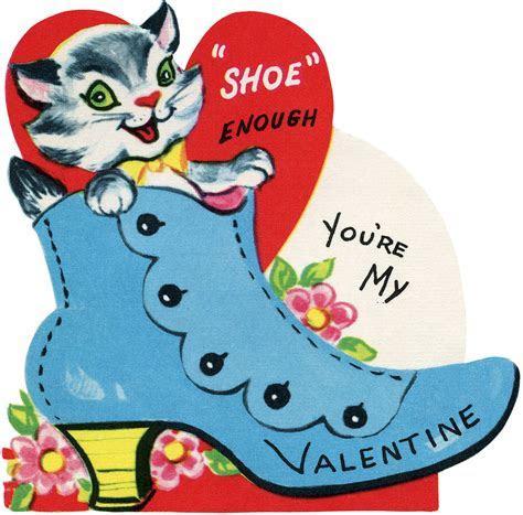 Retro Valentine Cat in Shoe Image!   The Graphics Fairy