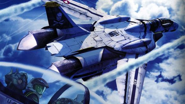 An illustration of an airborne Valkyrie fighter, a.k.a. 'Skull Leader,' from ROBOTECH.