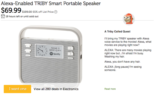 [Deal Alert] Get a Triby portable speaker with Amazon Alexa for $69.99 on Woot! (65% off)