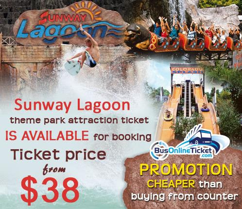 Discounted ticket to Sunway Lagoon theme park from Singapore