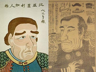 An unflattering caricature of Commodore Perry on the Japanese newspapers of the day