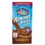 Blue Diamond Almond Breeze Unsweetened Milk, Chocolate - 32 fl oz carton