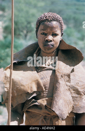 A young Pokot woman in seclusion dress after being circumcised Near Sigor northern Kenya East Africa