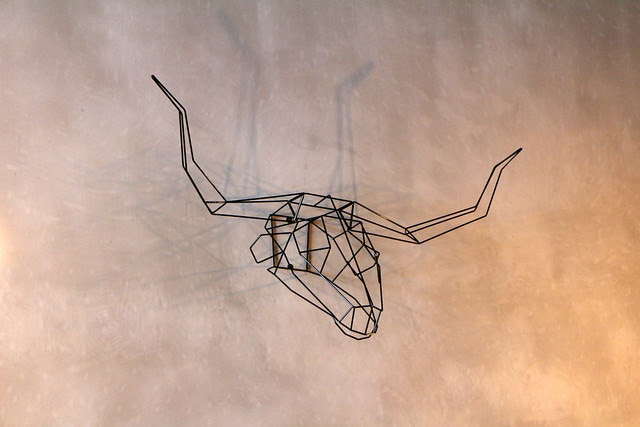 Wireframe art on the wall