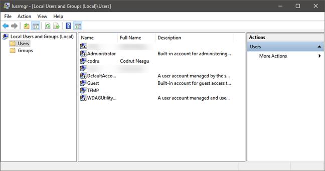 Lista de cuentas de usuario mostradas por lusrmgr.msc