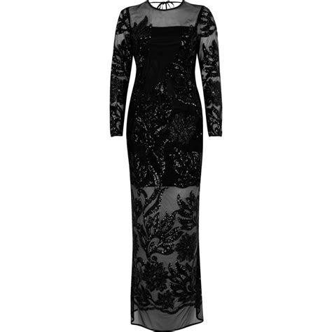 Black embellished mesh maxi dress   Dresses   Sale   women