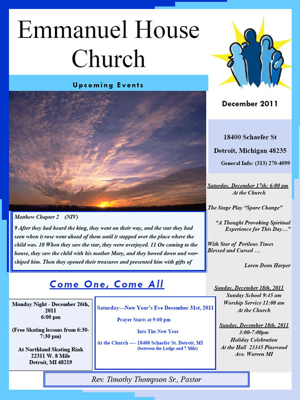 Emmanuel House Church Upcoming Events