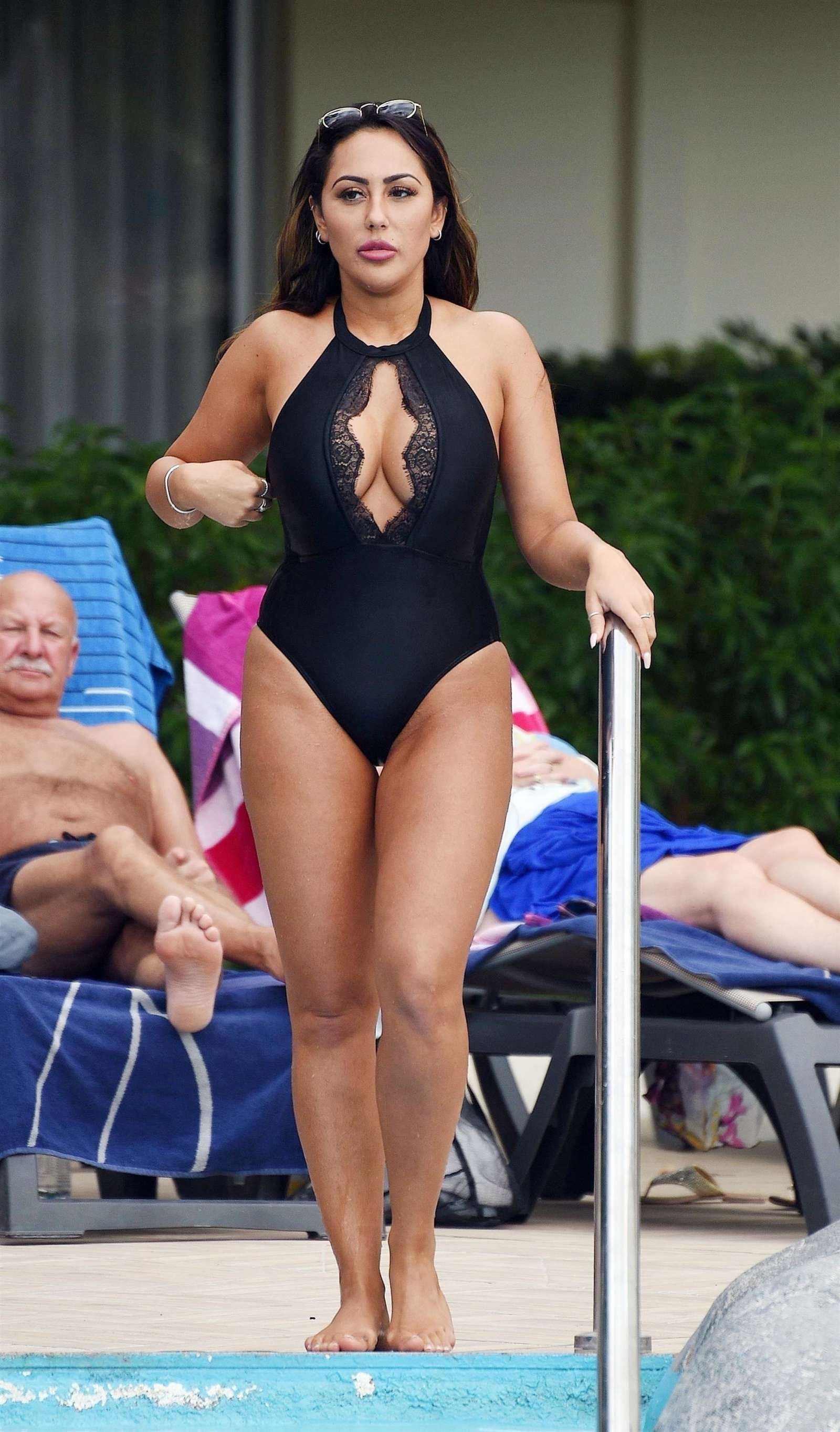 Sophie Kasaei in Black Swimsuit on holiday in Tenerife