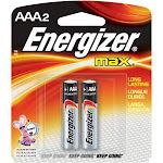 Energizer Max E92BP-2 Battery - AAA - Alkaline