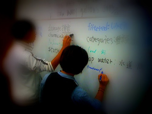 SIT students writing on the whiteboard