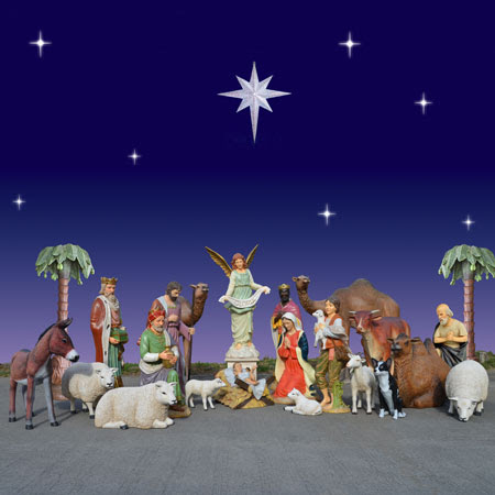 "Outdoor Giant Nativity Set  - Complete Set 72"" scale"