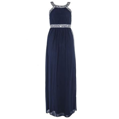 Navy & Silver Chiffon Maxi Dress   Quiz Clothing   wedding