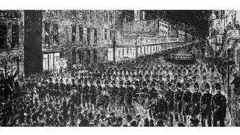 Λιθογραφία για την απεργιακή συγκέντρωση της 1ης Μάη στο Σικάγο