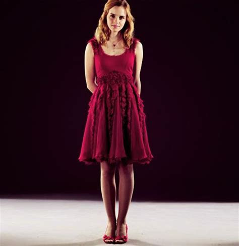 emma watson in a red dress promo pics for harry potter and