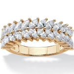 2.60 TCW CZ 14k Gold over Silver Row Leaf Ring