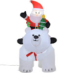 HomCom 6' Light Up Airblown Santa Claus Polar Bear Inflatable Yard Decor Holiday