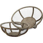 """Contemporary Home Living Set of 2 Brown Wire Atlas Sphere Bowls 9"""""""
