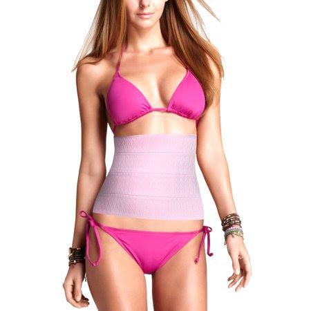 Women's Pink Rhombus Pattern Elastic Strapless Tummy Trimmer Waist Cincher