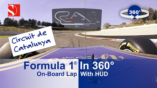 SPECTACULAR 360 Degree F1 OnBoard Lap Around Circuit de Catalunya  HUD (Head-Up Display) with track ...