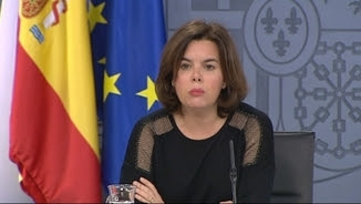 La vicepresidenta Soraya Sáenz de Santamaría, aquest divendres, després del Consell de Ministres
