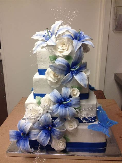 Blue Lily Wedding Cake   Cake by Kristina and Michelle's