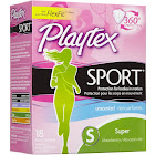 Playtex Sport Unscented Plastic Tampons, Super - 18 Ct