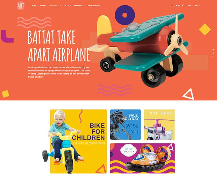 Babyshop - Plantilla Hermosa PSD para tiendas de bebé