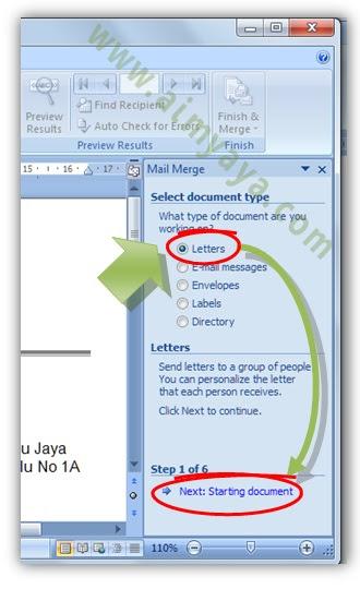 Gambar: Memilih  jenis dokumen mail merge di microsoft Word