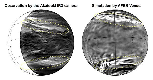 FIGURE 1: Images of Venus' lower clouds as captured by the Akatsuki spacecraft's IR2 camera.