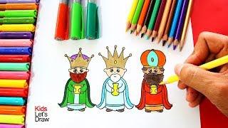 Como Dibujar A Los Reyes Magos Kawaii Para Navidad Facil Paso A
