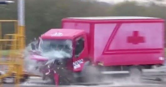Speeding 7.2tonne truck ripped apart after crashing into high-tech anti-terrorism bollard made in Britain