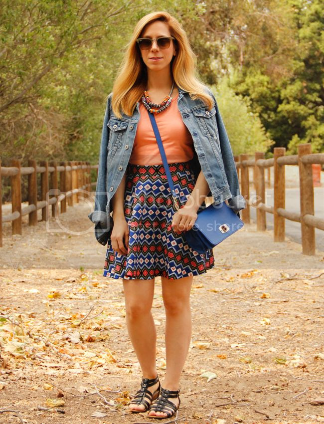 LA fashion blogger The Key To Chic wears a Target Style world printed skirt with AG Jeans Robyn denim jacket and Naturalizer gladiator sandals