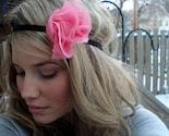 the dreamy II - Large Chiffon Fluff Headband in Pink Coral on Black - Free Worldwide Shipping