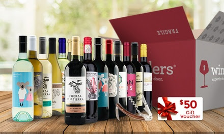 15 Bottles of Premium Wine, $50 Gift Voucher, and Corkscrew from Wine Insiders (83% Off)