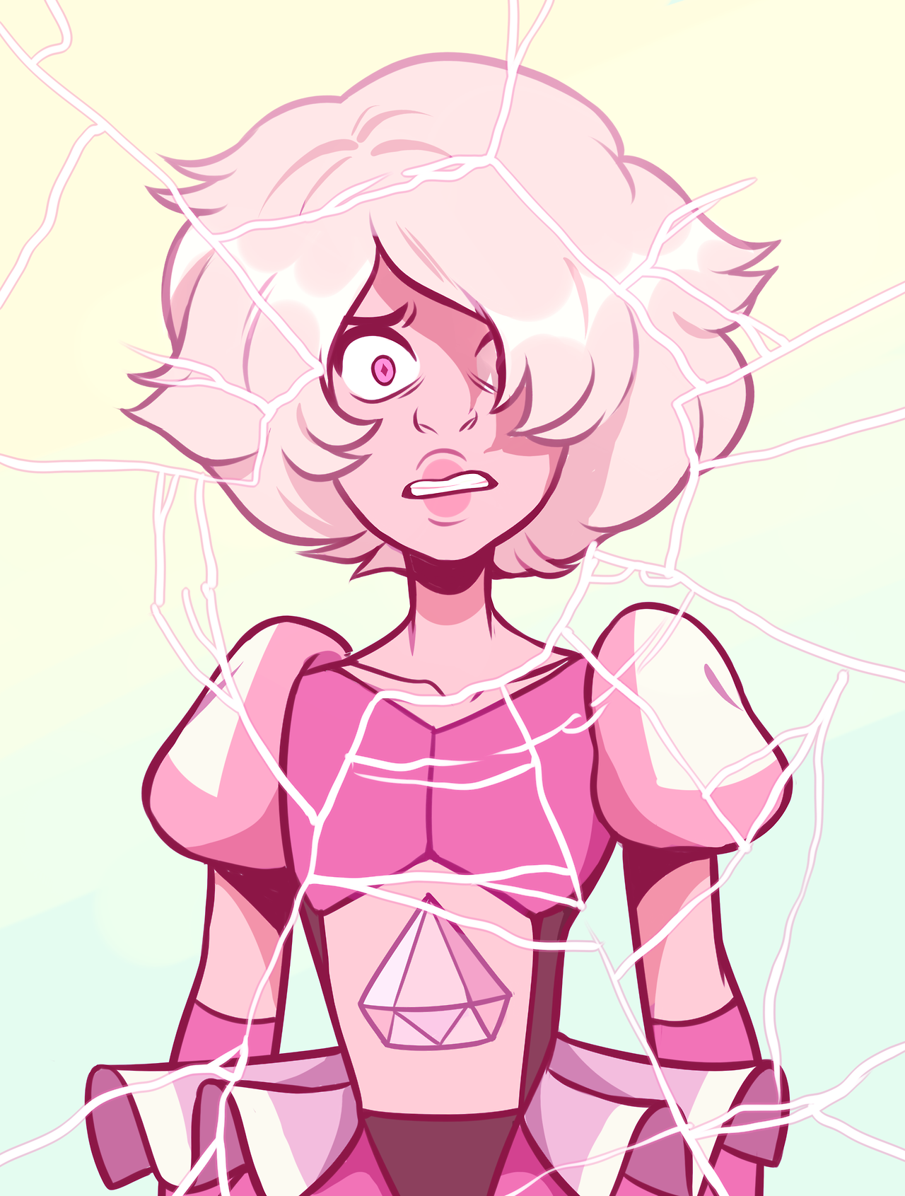 "She is a brat and I like her Also I am pretty sure she's a ""defect' diamond… A deep-cut, like Amethyst. Just look at her gem- it's long, unlike what an ""ideal"" diamond shape should be. This is why..."