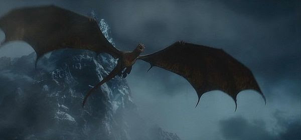Emerging from Lonely Mountain at the end of THE HOBBIT: THE DESOLATION OF SMAUG, the dragon Smaug is out to destroy the nearby village known as Lake-town in THE HOBBIT: THE BATTLE OF THE FIVE ARMIES.