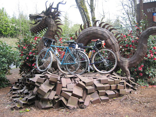 Bleriot and Sweetpea visiting the Job Corps dragon sculpture