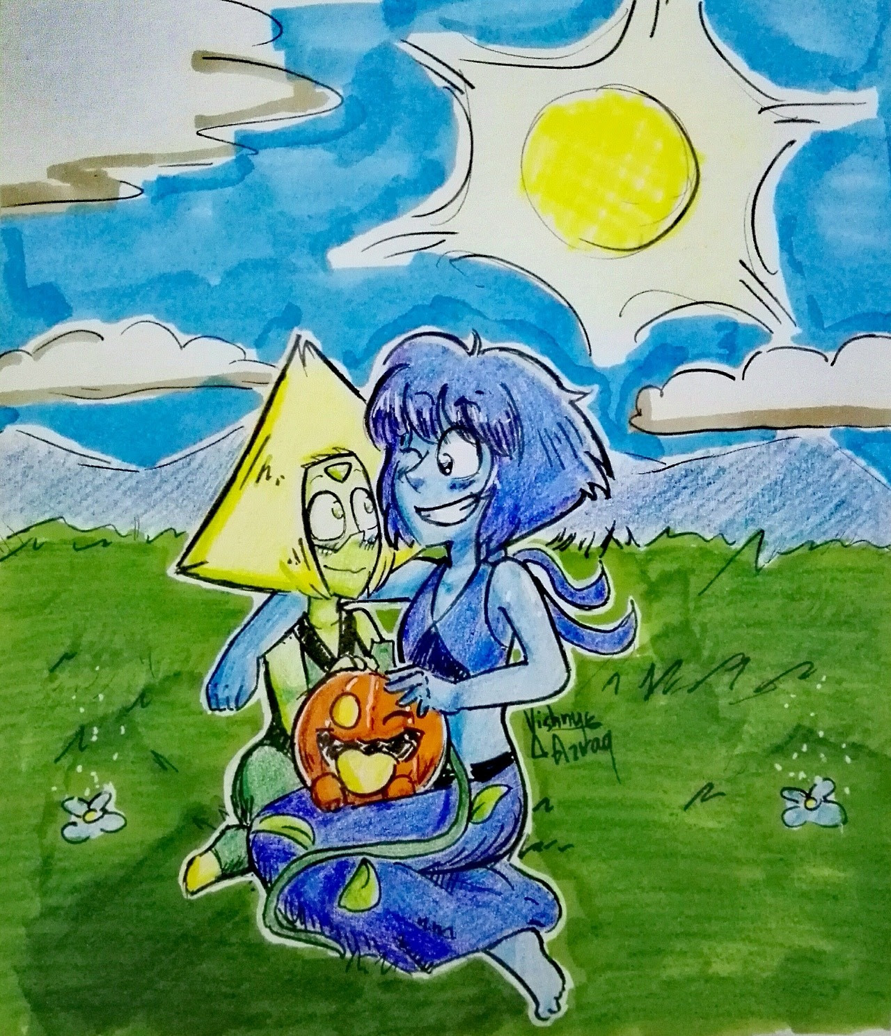 """Can you draw Peridot, Lapis and their little pumpkin dog ??"" My sister asked me to draw this. YES. THE 5 YEARS OLD KID I TALKED ABOUT BEFORE ASKED ME TO DRAW THIS AMAZING FAMILY. IT'S BEEN TWO DAYS..."