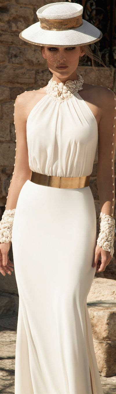 White Halter Dress With Gold Belt And Seashell Accents