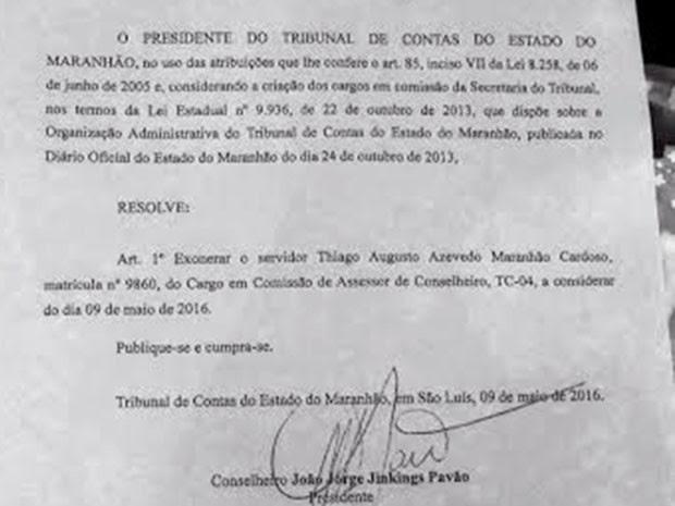 Presidente do tribunal assinou a exoneração nesta segunda-feira (9) (Foto: Divulgação/TCE-MA)