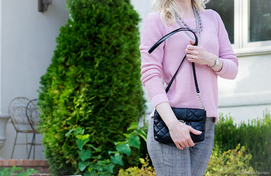 Blush pink sweater & grey plaid ankle pants - outfit for petites