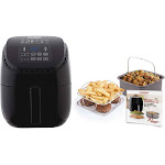 NuWave Brio Digital Air Fryer (3 qt, Black) with 2-piece Cooking Set (3 qt)