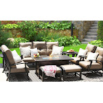 Barbados Cushion Aluminum Garden Furniture 8PC Fire Pit Set