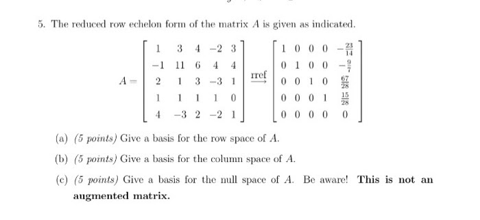Solved: The Reduced Row Echelon Form Of The Matrix A Is Gi... | Chegg.com