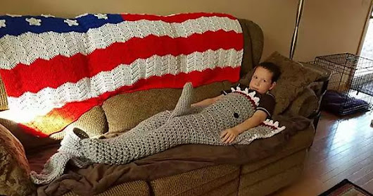 When Grandma makes a shark blanket