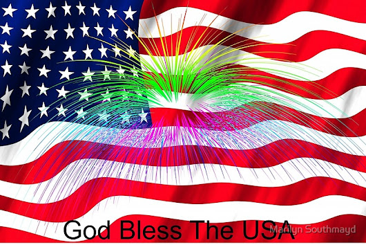 'God Bless the USA With Flag and Fireworks'  by Marilyn Southmayd