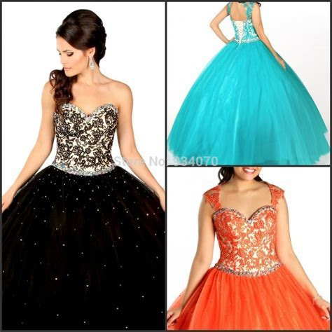 Black Hunter Orange Lace up Cap Sleeve Quinceanera Dress