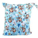 Waterproof Double Zipper Wet Dry Reusable Diaper Bag, Blue Monkeys from Gifts Are Blue
