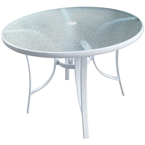 """40"""" Round White Glass Top Patio Table"""
