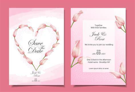 Modern tulips wedding invitation cards template design